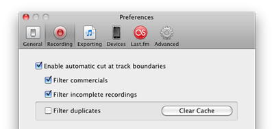 Recording Filters Preferences